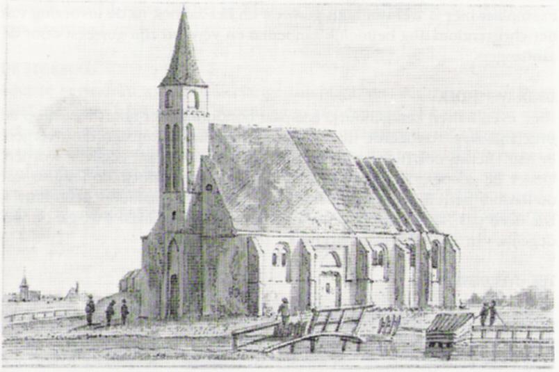 Het eerste kerkje in Eenigenburg, (tekening van Tavenier)